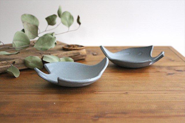 コトリ小皿 ブルーグレー 陶器 長浜由起子 画像2