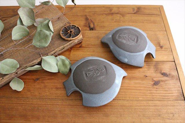 コトリ小皿 ブルーグレー 陶器 長浜由起子 画像3