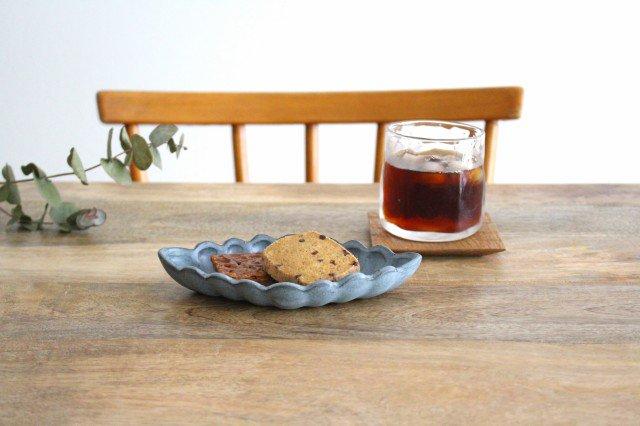 ひし形小皿 ブルーグレー 陶器 長浜由起子