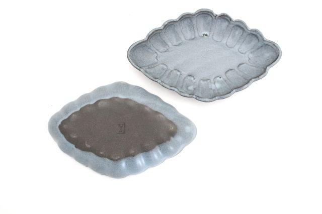 ひし形小皿 ブルーグレー 陶器 長浜由起子 画像3