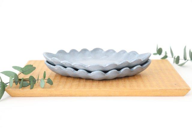 ひし形小皿 ブルーグレー 陶器 長浜由起子 画像4