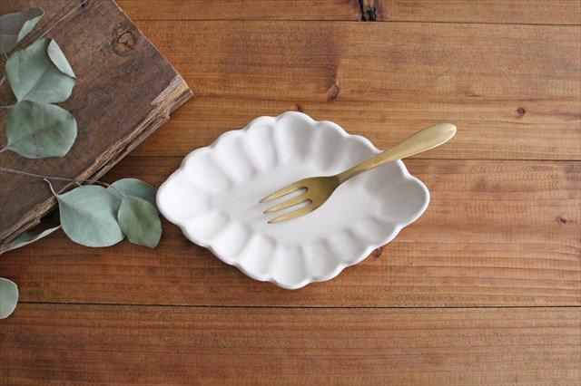 ひし形小皿 ホワイト 陶器 長浜由起子