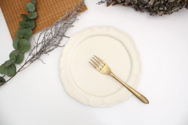 白マット洋皿 8寸 陶器 長浜由起子 画像5