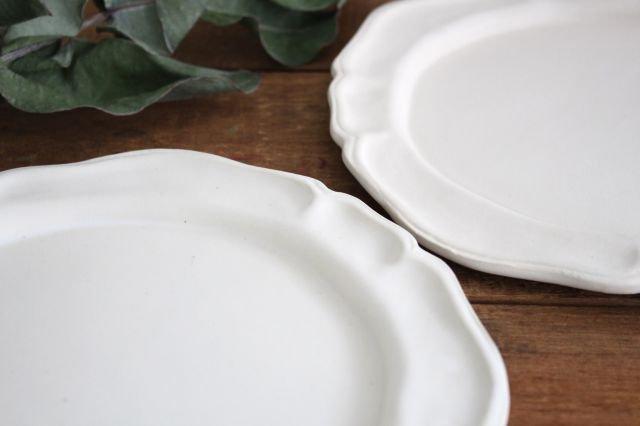白マット洋皿 8寸 陶器 長浜由起子 画像6