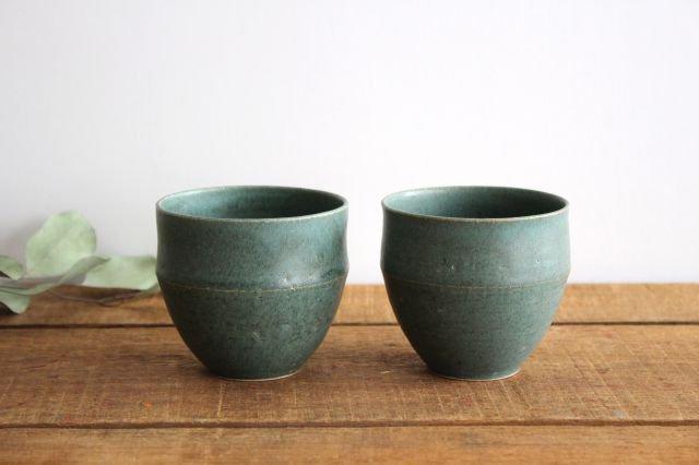 カップ 大 緑色 陶器 寺嶋綾子 画像2