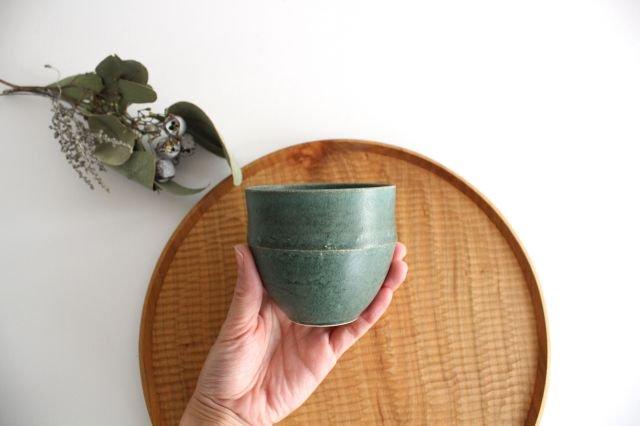 カップ 大 緑色 陶器 寺嶋綾子 画像5