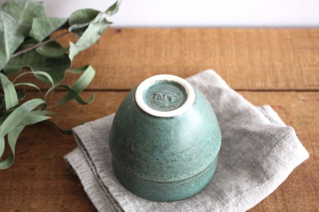 カップ 大 緑色 陶器 寺嶋綾子 画像6