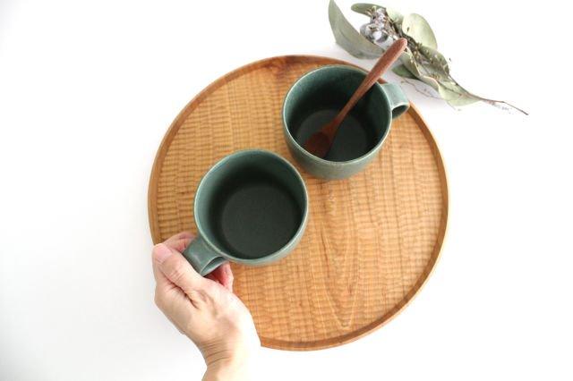マグカップ 小 緑色 陶器 寺嶋綾子 画像2