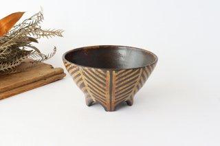 5つ足ボウル 灰釉 線紋 陶器 南陶窯 久場政一 やちむん商品画像