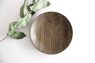 7寸皿 灰釉 線紋 陶器 南陶窯 久場政一 やちむん商品画像