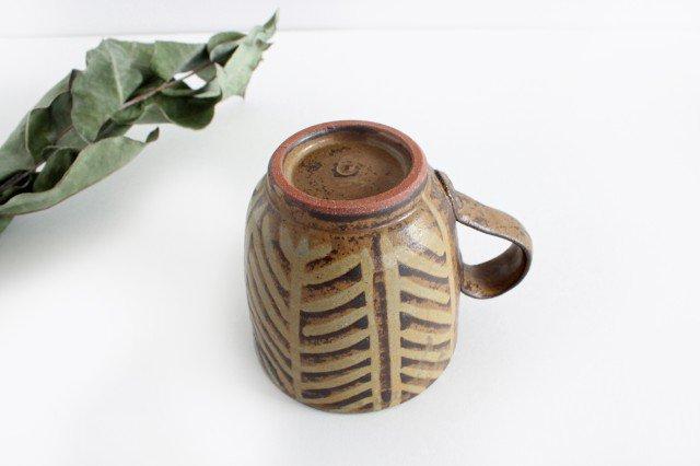 マグカップ 灰釉 線紋 陶器 南陶窯 久場政一 やちむん 画像3