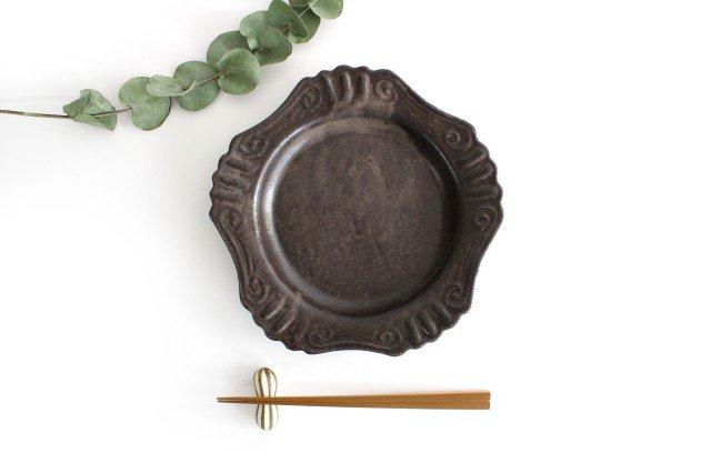 キャラメリゼブラウン 丸ロココ皿 陶器 木のね 画像3