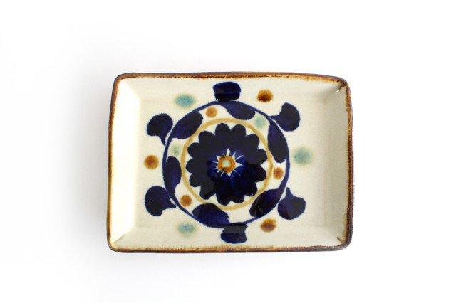 角皿 菊花紋 陶器 エドメ陶房 やちむん