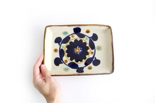 角皿 菊花紋 陶器 エドメ陶房 やちむん 画像3