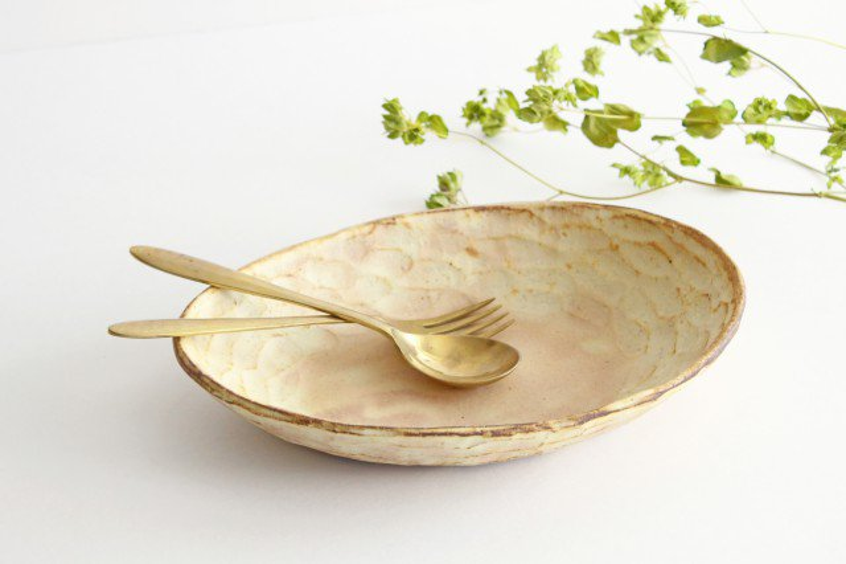 粉福 楕円皿 パスタ皿 陶器 木のね