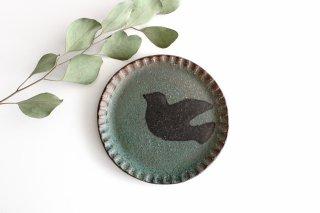 ことりのプレート 緑 陶器 工房ことりの やちむん商品画像