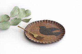 ことりのプレート 黄土 陶器 工房ことりの やちむん商品画像