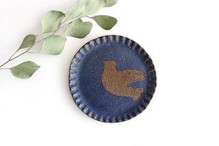 ことりのプレート 青 陶器 工房ことりの やちむん商品画像