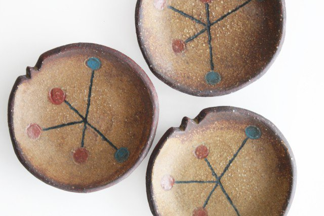 ことりの豆皿 ドット+線 陶器 工房ことりの やちむん 画像6