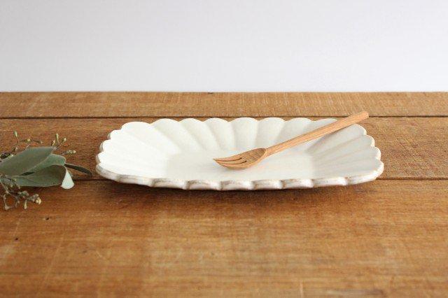 輪花長方皿 マットホワイト 陶器 柳瀬俊一郎