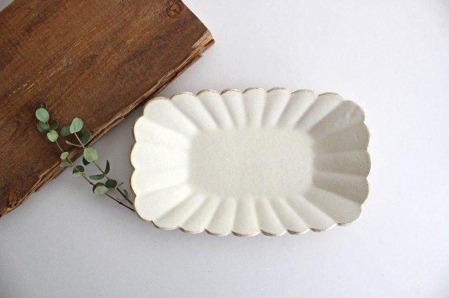 輪花長方皿 マットホワイト 陶器 柳瀬俊一郎 画像2