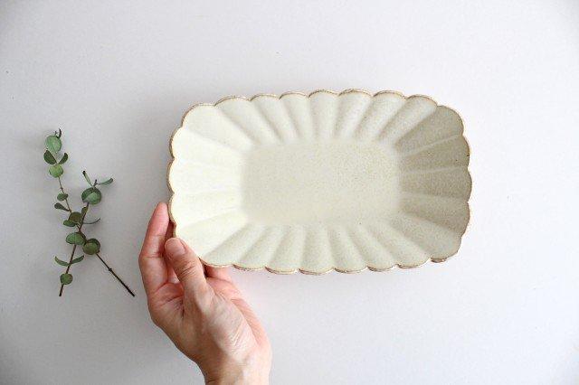 輪花長方皿 マットホワイト 陶器 柳瀬俊一郎 画像4