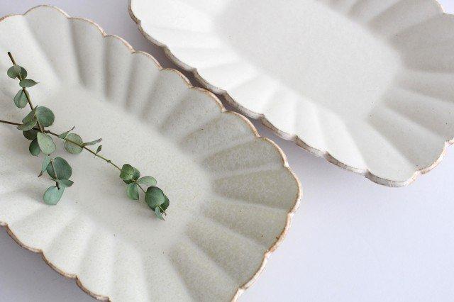 輪花長方皿 マットホワイト 陶器 柳瀬俊一郎 画像5