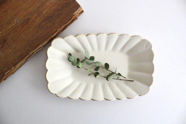 輪花長方皿 マットホワイト 陶器 柳瀬俊一郎 画像6