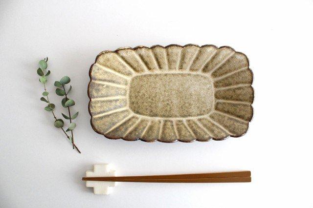 輪花長方皿 マットブラウン 陶器 柳瀬俊一郎 画像4