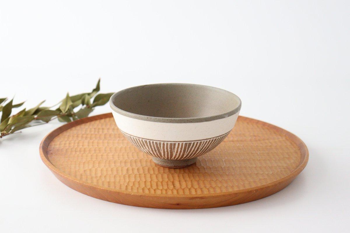 美濃焼 松葉象がん飯碗 ブラウン 陶器
