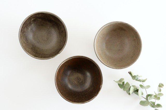 美濃焼 松葉象がん飯碗 ブラウン 陶器 画像3