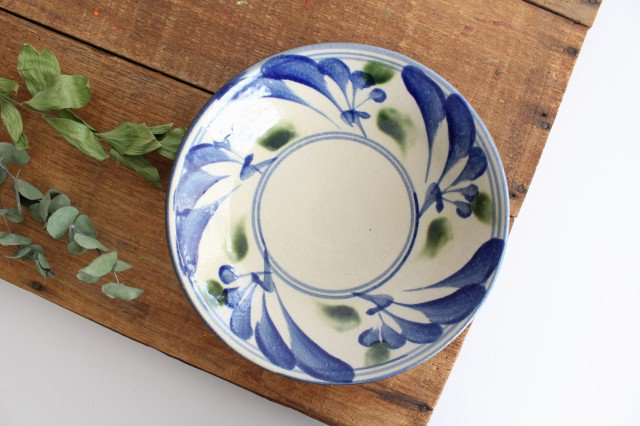 7寸皿 唐草 ゴスオーグスヤ 陶器 陶芸こまがた 駒形爽飛 やちむん