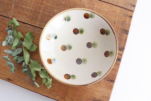 7寸皿 ドット オーグスヤアメ 陶器 陶芸こまがた 駒形爽飛 やちむん