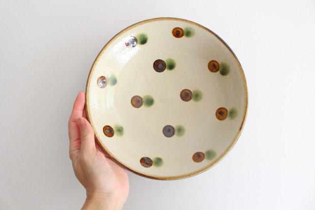 7寸皿 ドット オーグスヤアメ 陶器 陶芸こまがた 駒形爽飛 やちむん 画像5