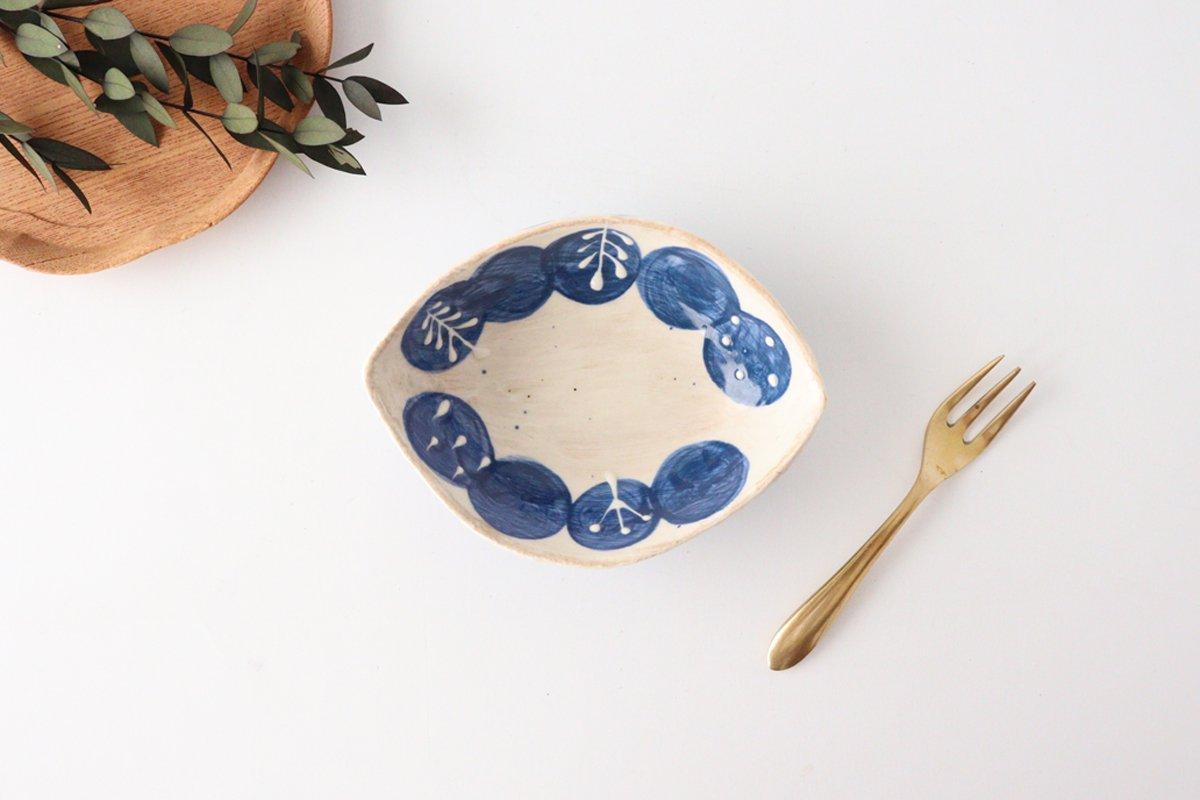 雫の森 レモン型小皿 群青の森 陶器 こむろしずか