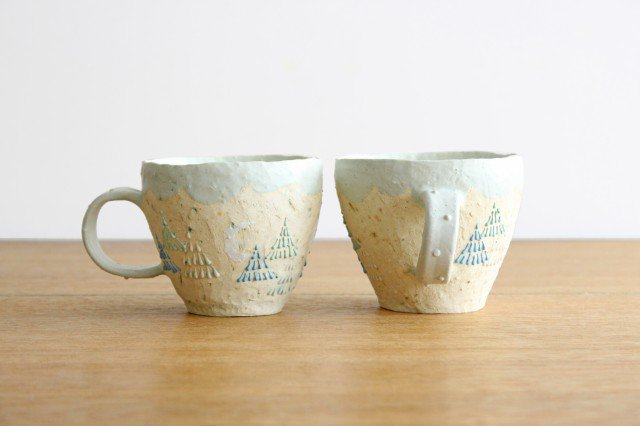 雫の森 マグカップ 高い空 【C】 陶器 こむろしずか 画像3