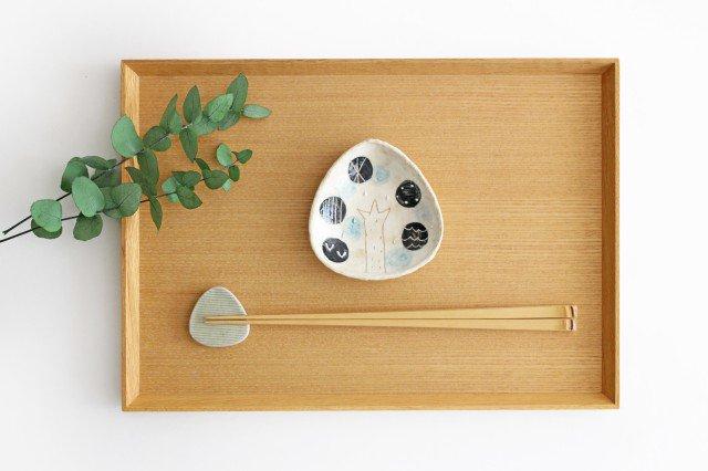 雫の森 三角豆皿 雨上がり 陶器 こむろしずか 画像4