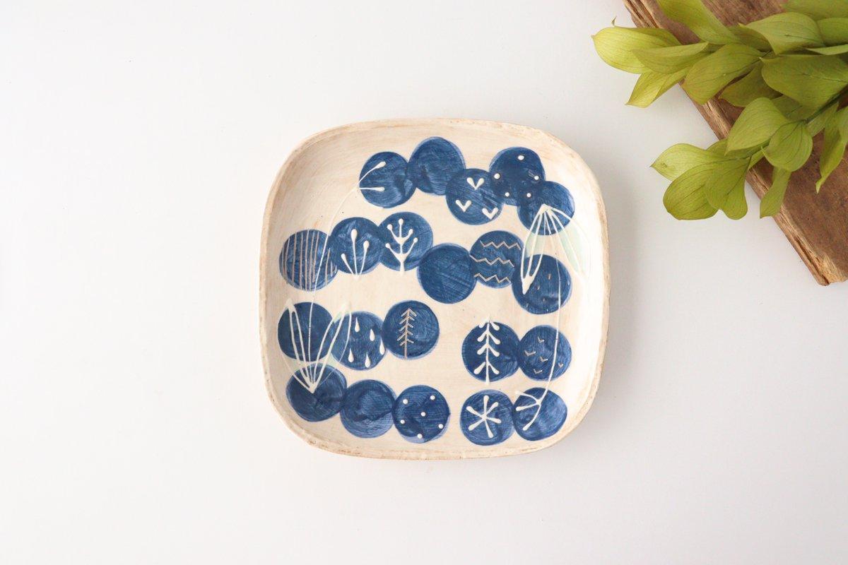 雫の森 四角平皿 群青の森 陶器 こむろしずか