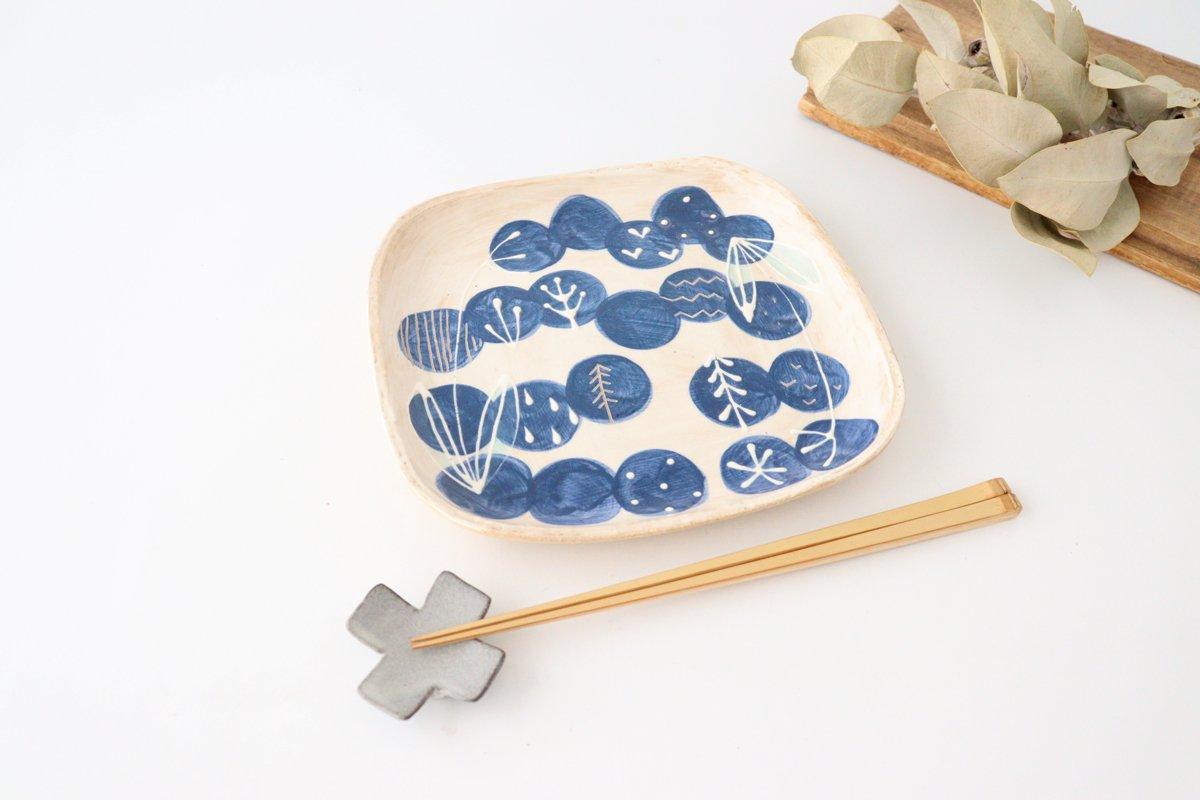 雫の森 四角平皿 群青の森 陶器 こむろしずか 画像5