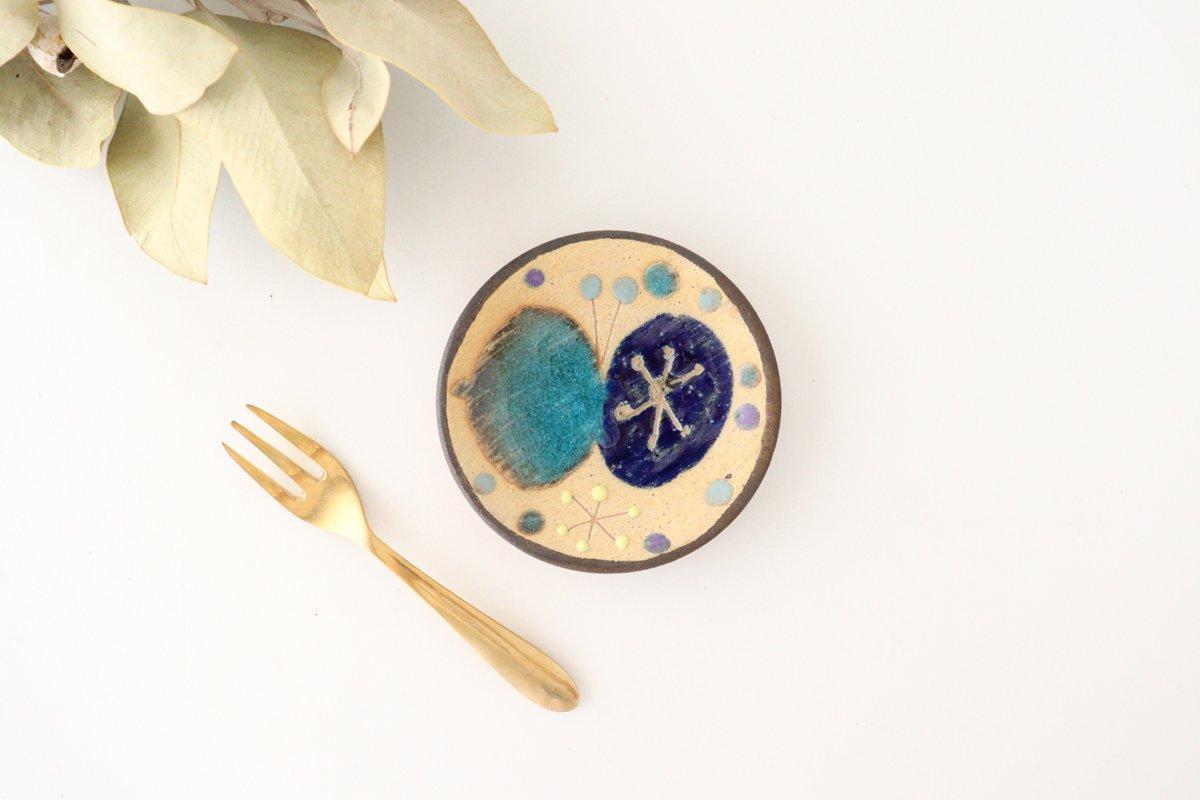 チョウ小皿 トルコブルー 陶器 土の種 やちむん