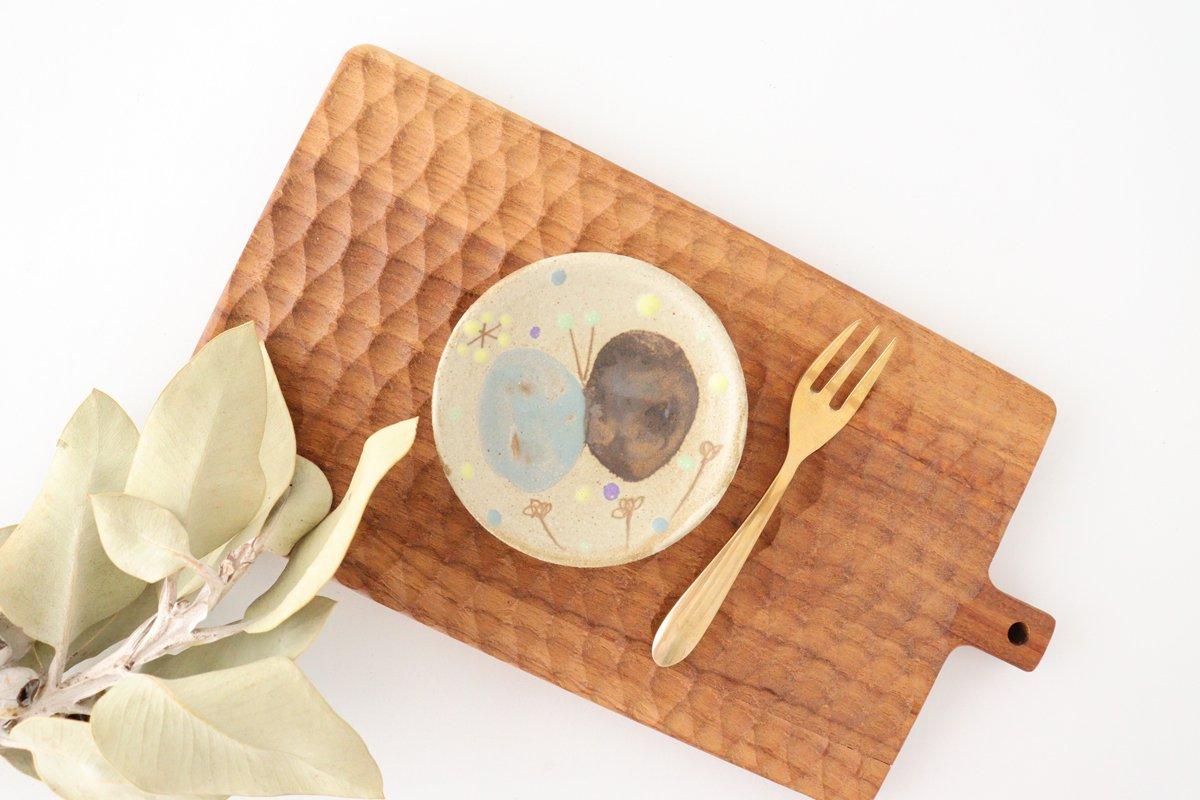 チョウ小皿 スカイブルー 陶器 土の種 やちむん