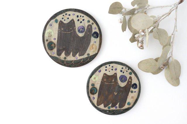 15cmプレート ネコと花 陶器 土の種 やちむん