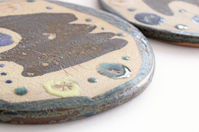 15cmプレート ネコと花 陶器 土の種 やちむん 画像2