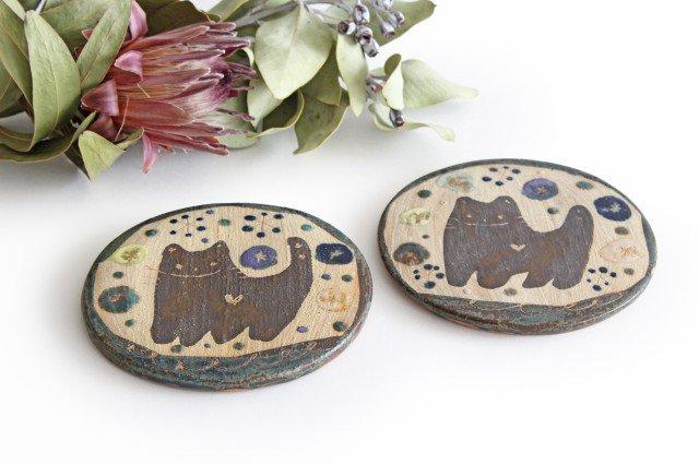 15cmプレート ネコと花 陶器 土の種 やちむん 画像3