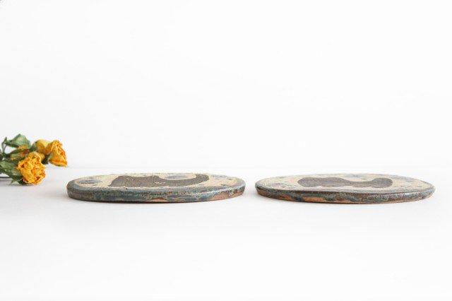 15cmプレート ネコと花 陶器 土の種 やちむん 画像5