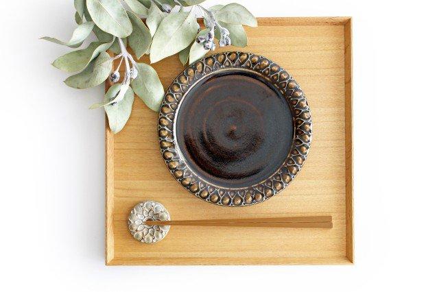 パン皿 しずく こげ茶 陶器 ルリアメ工房 画像2