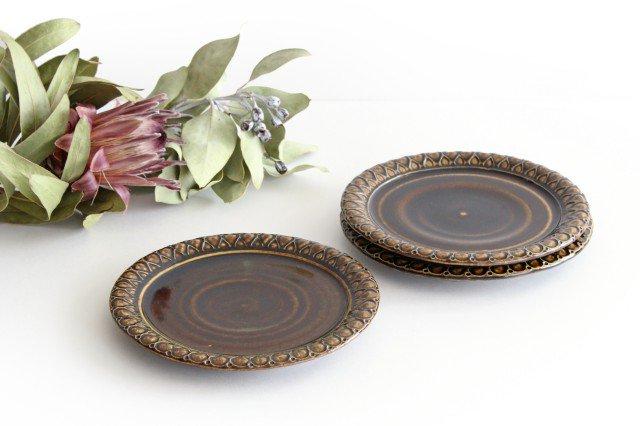 パン皿 しずく こげ茶 陶器 ルリアメ工房 画像4
