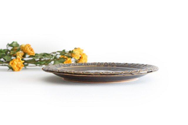 パン皿 しずく こげ茶 陶器 ルリアメ工房 画像5