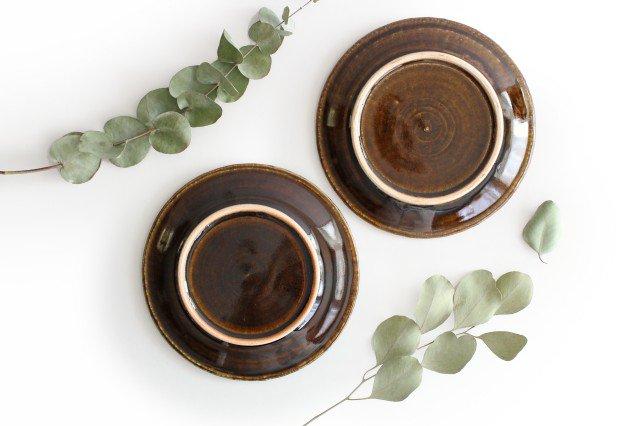 パン皿 しずく こげ茶 陶器 ルリアメ工房 画像6