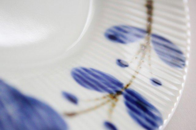 しのぎ7寸皿 染付サビ花つなぎ 磁器 皓洋窯 有田焼 画像6